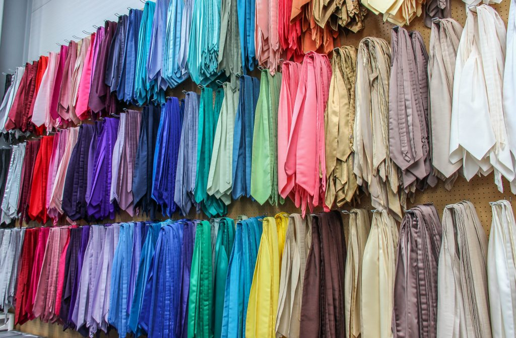 Tie rack in suit hire company